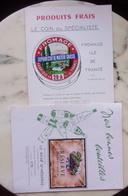 LOT DE 2 PUBLICITES ETIQUETTES ANCIENNES : RESERVE GRAND VIN ROSE + FROMAGE ILE DE FRANCE - Labels