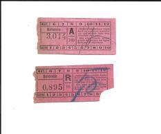 2 Tickets Anciens. TRAMWAYS De ROUEN. Voir Description - Tram