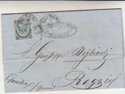Bologna Per Reggio Emilia. Cover Con Contenuto 1865 - 1861-78 Vittorio Emanuele II