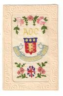 Carte Brodée Militaria AOC Army Ordonance Corps Fleurs Blason Drapeau Anglais - War 1914-18