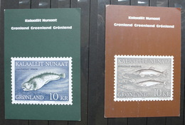 GEENLAND 1984 2 Postcards With Fishes - Greenland