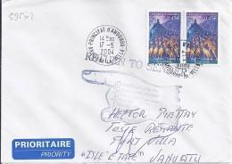 TP N° 595x2 SUR LETTRE DU 17.05.04 POUR VANUATU - Andorre Français