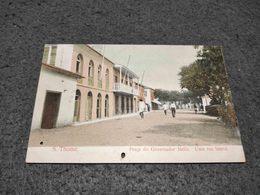 ANTIQUE POSTCARD PORTUGUESE SAO TOME AND PRINCIPE PRAÇA DO GOVERNADOR MELLO RUA LATERAL  CIRCULATED GREAT CANCEL 1909 - Sao Tome And Principe