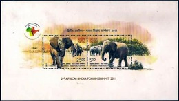 INDIA 2011 2ND INDIA AFRICA SUMMIT JOINT ISSUE INDIAN ELEPHANT ANIMALS MINIATURE SHEET MS MNH - Emisiones Comunes