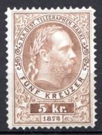 AUTRICHE - (Empire) - 1874-76 - Timbre Télégraphe - N° 9 -  5 K. Olive-brun - (Effigie De François-Joseph 1er) - Télégraphe