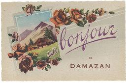 Cpa Fantaisie : Un Bonjour De Damazan - France