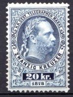 AUTRICHE - (Empire) - 1874-76 - Timbre Télégraphe - N° 10 -  20 K. Bleu - (Effigie De François-Joseph 1er) - Neufs
