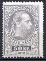 AUTRICHE - (Empire) - 1874-76 - Timbre Télégraphe - N° 13 -  50 K. Gris - (Effigie De François-Joseph 1er) - Télégraphe