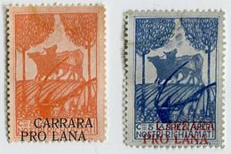 SERIE 2 ERINNOFILI CHIUDILETTERA PRO LANA CARRARA LA SPEZIA PER I NOSTRI RICHIAMATI CENTESIMI 5 - Cinderellas