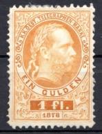 AUTRICHE - (Empire) - 1874-76 - Timbre Télégraphe - N° 15 - 1 Fl.. Jaune - (Effigie De François-Joseph 1er) - Télégraphe