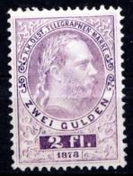 AUTRICHE - (Empire) - 1874-76 - Timbre Télégraphe - N° 16B - 2 Fl.. Violet - (Effigie De François-Joseph 1er) - Télégraphe