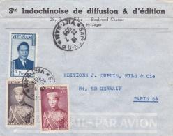 """VIETNAM :   Princes Bao Daï Et Bao Long  Sur Lettre  """" Sté Indochinoise De Diffusion Et D'édition """"  CaD  Saïgon De 1955 - Viêt-Nam"""