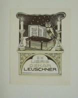 Ex-libris Moderne XXème Illustré - Autriche - OSKAR LEUSCHNER - Livres Aux Chandelles - Ex-libris