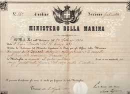 DIPLOME DE LA MEDAILLE EN ARGENT DE LA VALEUR MILITAIRE ITALIENNE  -  Monsieur  BERARD Antonio  -  Août 1860 - Militaria