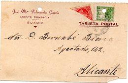 Tarjeta Postal  De Guadix De 1937 - 1931-50 Storia Postale