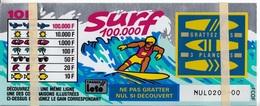 1 TICKET SURF FRANCE LOTO FDJ GRAND SPÉCIMEN NEUF DE DÉMONSTRATION POUR VITRINE NON GRATTE 19X12cm - NOTRE SITE Serbon - Billets De Loterie