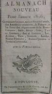 ALMANACH CALENDRIER  1826 ,  FETES , FOIRES  Départements 09 , 11 , 12 , 31, 32, 33 , 46 , 47 , 64 , 65 , 66, 81 , 82 - Calendriers