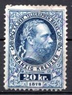 AUTRICHE - (Empire) - 1874-76 - Timbre Télégraphe - N° 10 -  20 K. Bleu - (Effigie De François-Joseph 1er) - Télégraphe