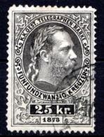 AUTRICHE - (Empire) - 1874-76 - Timbre Télégraphe - N° 11 -  25 K. Noir - (Effigie De François-Joseph 1er) - Télégraphe