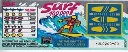 1 TICKET SURF FRANCE LOTO FDJ PETIT SPÉCIMEN NEUF DE DÉMONSTRATION POUR VITRINE NON GRATTE 15,4X6cm - NOTRE SITE Serbon - Billets De Loterie