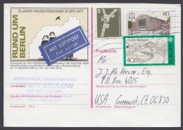 Mi-Nr. P 127, Bedarfs-Luftpost In Die USA Mit Pass. Zusatzfr. , O - Postkarten - Gebraucht