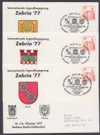 """Mi-Nr. PP 76/D2-04/06, """"Zebria 77"""", 3 Versch. Wappenkarten, Alle Pass. Sst., O - Berlin (West)"""