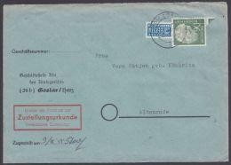 "Mi-Nr. 193, ""Heuß"", EF Auf ZU ""Goslar"", 8.7.53 - Briefe U. Dokumente"