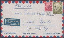 """Mi-Nr. 194, 185, MiF """"Heuß"""" Auf Luftpost Nach Brasilien - BRD"""