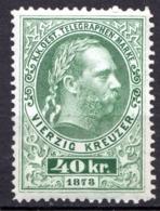 AUTRICHE - (Empire) - 1874-76 - Timbre Télégraphe - N° 12 - 40 K.  Vert - (Effigie De François-Joseph 1er) - Télégraphe