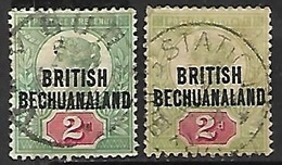 Bechuanaland 1891  Sc#34  2d Varieties  Used  2016 Scott Value  $10 - Bechuanaland (...-1966)