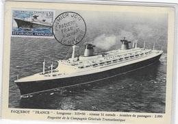 CM   Paquebot France -1962 Le Havre - Cartes-Maximum