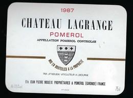 Etiquette Vin  Chateau  Lagrange Pomerol  1987 Jean Pierre Moueix Propriétaire - Bordeaux