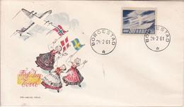 FDC. AIRPLANE, TRADICIONAL COSTUME. OBLITERE BORGESTAD 1961. SAS STAMP. NORGE NORWAY-BLEUP - FDC