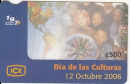 COSTA RICA - Dia De Las Culturas, ICE Tel Prepaid Card C 500, 10/06, Used - Costa Rica