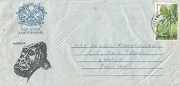 KENYA USED GORILLA PICTURE AEROGRAMME TO PAKISTAN WITH FLOWER STAMP - Kenya (1963-...)