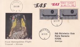 CARD-FIRST METROPOLITAN FLIGHT. TROMSO-KIRUNA SAS SK 440 1965. NORGE NORWAY-BLEUP - Airmail