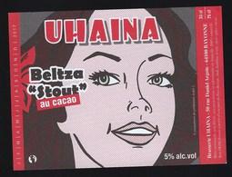 "Etiquette Biere  Uhaina Beltza Stout Au Cacao  Brasserie Uhaina Bayonne ""visage Femme"" - Birra"