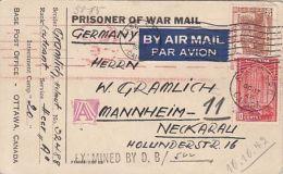 PRISONER OF WAR MAIL, INTERNMENT CAMP NR 20, CENSORED D.B. NR 522, WW2, STAMPS, POSTCARD, 1942, CANADA - 1937-1952 Règne De George VI