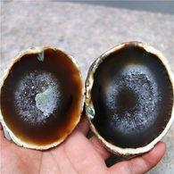 Minéral Géode D'Agate (deux Morceaux) Polie 388 Gr - Minerals