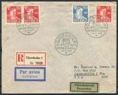 1945 Sweden Rydberg First Day Cover. Djursholm Registered Airmail - Jacksonville Florida USA Postverket - FDC