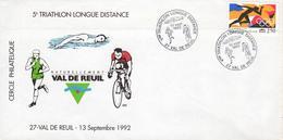 Enveloppe 1er JOUR - 5e Triathlon Longue Distance - 27100 - Val De Reuil - 13 Septembre 1992 - Cercle Philatélique - - FDC