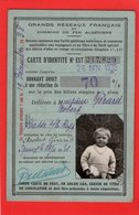 SOCITE DES CHEMINS DE FER FRANCAIS CARTE D'IDENTITE Donnant Droit à Réduction De 70 % 1938 - Transportation Tickets