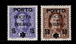 Pologne Timbres-taxe YT N° 11/12 Neufs *. Signés. Rare! B/TB. A Saisir! - Postage Due