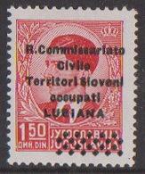 Lubiana, 1,50 Din, Double Overprint, (Sass. 21 B), Mint, Hinged, Certificate France - 9. Besetzung 2. WK (Italien)