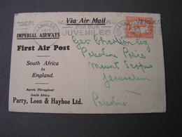 Flight Cv, To Jerusalem 1932 Rare Destination - Südafrika (...-1961)