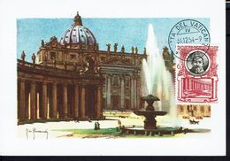 "VATICAN - 1954 - Carte Maximum ""Rome - Basilique St Pierre - La Fontaine"" B/TB - - Maximumkaarten"