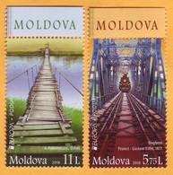 2018 Moldova Moldavie Moldau Europa Cept Railway, Railway Bridge, Train, Gustave Eiffel, Train, Wooden Bridge Set Mint - Moldavie