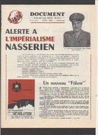 """Militaria Politique / Feuillet """"Document"""" De1956 / Col.Nasser  / Alerte à L'Impérialisme Nasserien """"Un Nouveau Führer """" - Documents Historiques"""