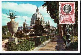 "VATICAN - 1954 - Carte Maximum Glacé ""Citta Del Vaticano - Viale Nei Giardini Vaticani"" B/TB - - Maximumkaarten"