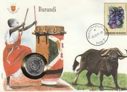 BUSTA CON FRANCOBOLLO E MONETA - Burundi